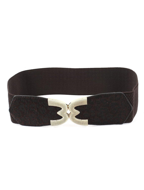 Ladies Leopard Prints M-Shaped Interlock Buckle Elastic Waist Belt