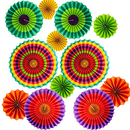 Price comparison product image Set of 12 Vibrant Colorful Hanging Paper Fans Rosettes Party Decorations Fiesta Party Supplies Photo Props for Wedding Birthday Baby Shower Event (Style 1)