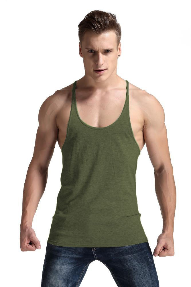 YAKER Men's Fitness Gym Tank Top Singlet Bodybuilding Stringers Sleeveless Muscle Shirt (M, Army Green)