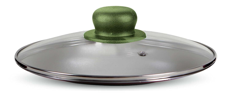 HAKKU Hair Iron Heat-Resistant Glass pan Cover lid 'Total Green' 28 cm Medium Clear ELECONCE SLX32566 SIL 2566_Verde-28 Cm