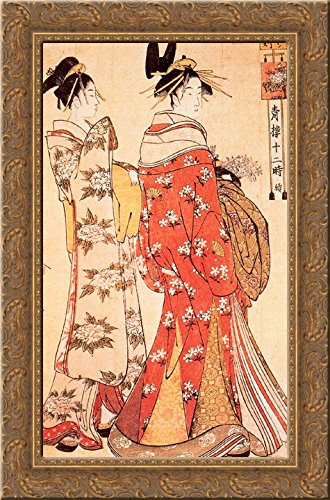 Illustration from `The Twelve Hours of the Green Houses', c.1795 (colour woodblock print) 24x16 Gold Ornate Wood Framed Canvas Art by Kitagawa Utamaro