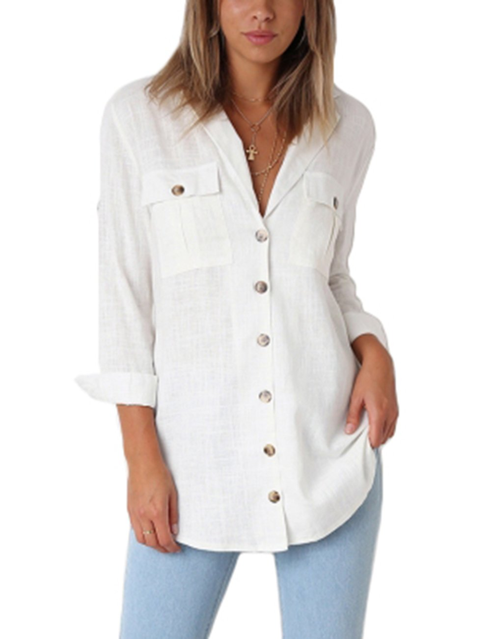 GRAPENT Women's Casual Loose Roll-up Sleeve Blouse Pocket Button Down Shirts Tops M(US 8-10)
