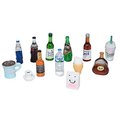 AMOBESTER Miniature Food Drink Bottles Dollhouse Decoration Kitchen Accessories: Toys & Games