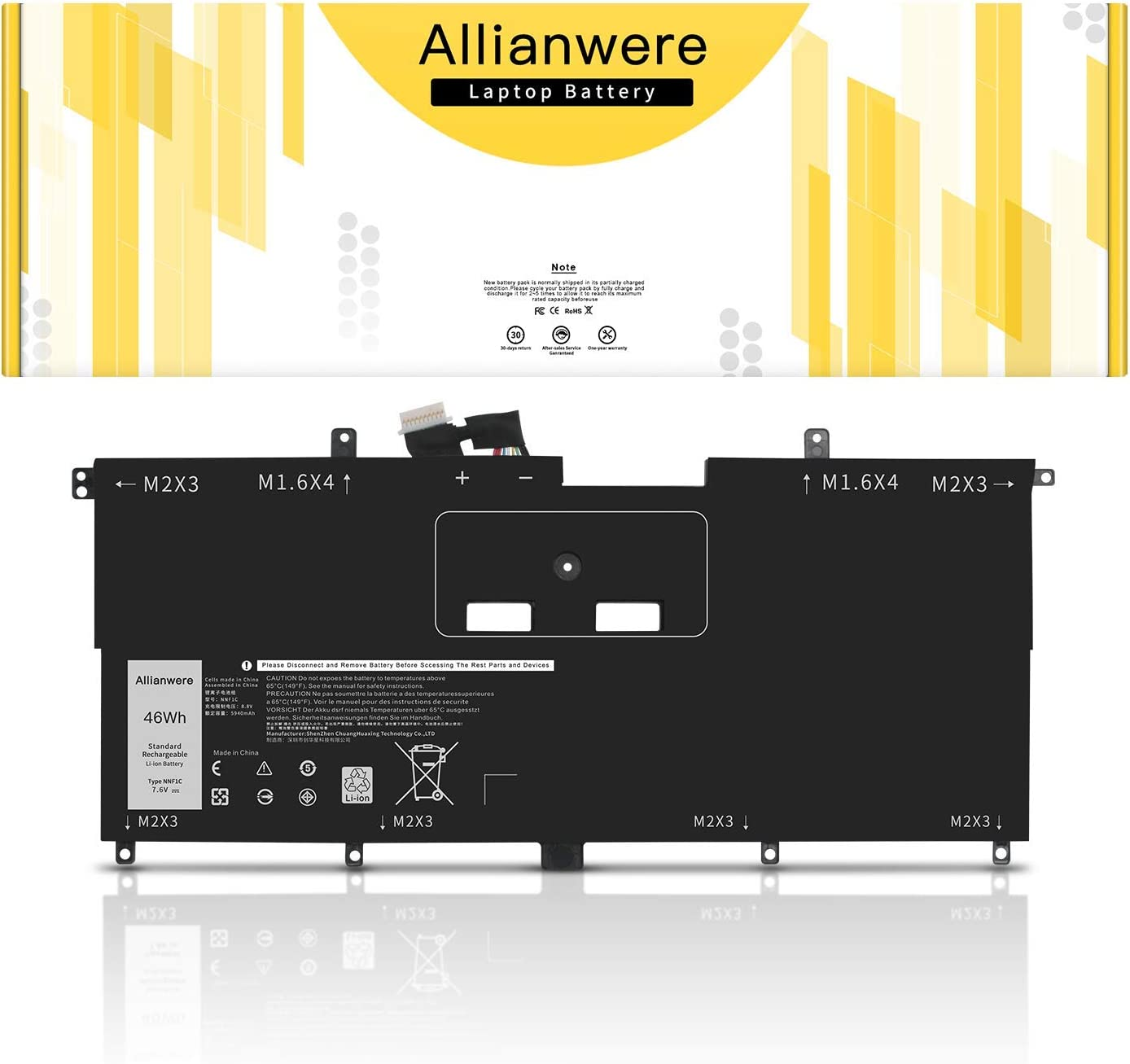 Allianwere NNF1C Laptop Battery Compatible with DellXPS139365Series DellXPS132-in-12017 Series Ultrabook Notebook HMPFH 0NNF1C Replacement