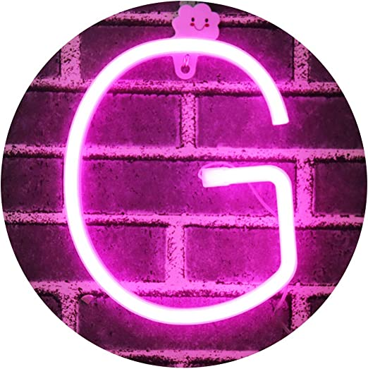 Light Up Letters Neon Signs, Pink Marquee Letter Lights Wall Decor for Christmas, Birthday Party, Bar Valentine's Day Words-Pink Letter G