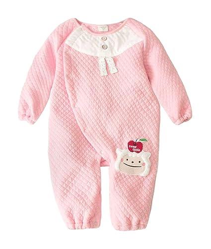 Augelute - Recién Nacido Pijama Bebés Niños Vestidos Mamelucos Mangas Largas Acolchado Invierno Otoño Caliente Casual