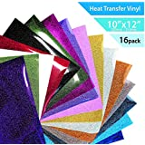 "T-Vinyl Glitter Heat Transfer Vinyl Sheets Set for DIY T-Shirts : 12""×10""- 16 Pack of 16 Assorted Brilliant Colors – Best Iron On T-Vinyl Bundle for Cricut, Silhouette Cameo and Other Vinyl Cutters"