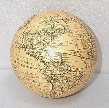 G346 White Vaugondy 14 cm. Weißer Globus als Kugel nach Vaugondy