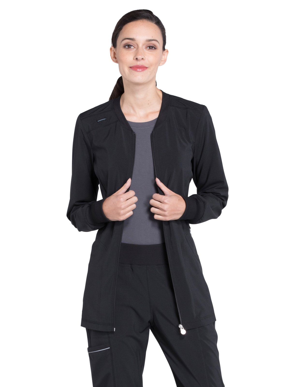 Cherokee Infinity Women's Zip Front Warm-Up Solid Scrub Jacket Medium Black