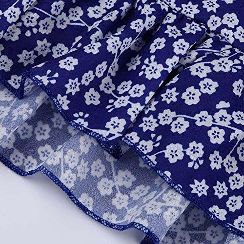 FeiXiang♈Las La Floral Manga Vestido Nueva Verano Del Madre Vestido Cuello Tendencia Corta DíA Azul Fiesta De Mujeres 2018 Moda De En De Mini De Noche Venta V Caliente Vestido Print PTYnqAIw8