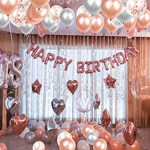 パーティー風船 NATUCE 誕生日 飾り付け 風船 誕生日デコレーションセット14個入り 紙吹雪バルーン ラテックスバルーン ホイルバルーン