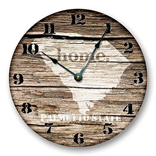 Glass South Carolina Clock (Wall Clock SOUTH CAROLINA State HOMELAND Clock - Palmetto State - Large 10.5
