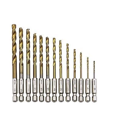 13Pcs High-speed Steel Coated Drill Bit Hex Shank Titanium Set HSS Coated Z3S0