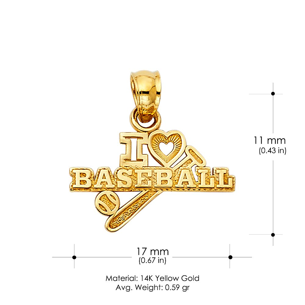 14K Yellow Gold I Love BaseBall Charm Pendant For Necklace or Chain