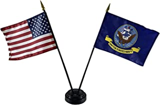 product image for Set of 6 4x6 E-Gloss United States Navy Stick Flag w/U.S. Stick Flag & 2 Flag Plastic Table Base