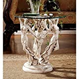 Design Toscano The Greek Muses Glass Topped Side Table, 51 cm, Polyresin, Antique Stone