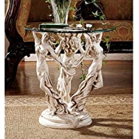 Design Toscano The Muses Glass Topped Sculptural End Table