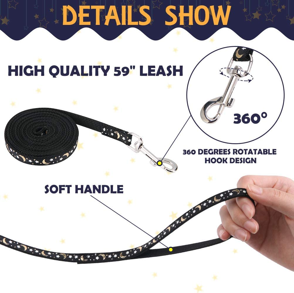 PAWCHIE Cat Harness and Leash Set Adjustable Soft Escape Proof H-shped Safety Strap with Golden Moon and Star Pattern Glow in The Dark for Pet Cats Outdoor Walking