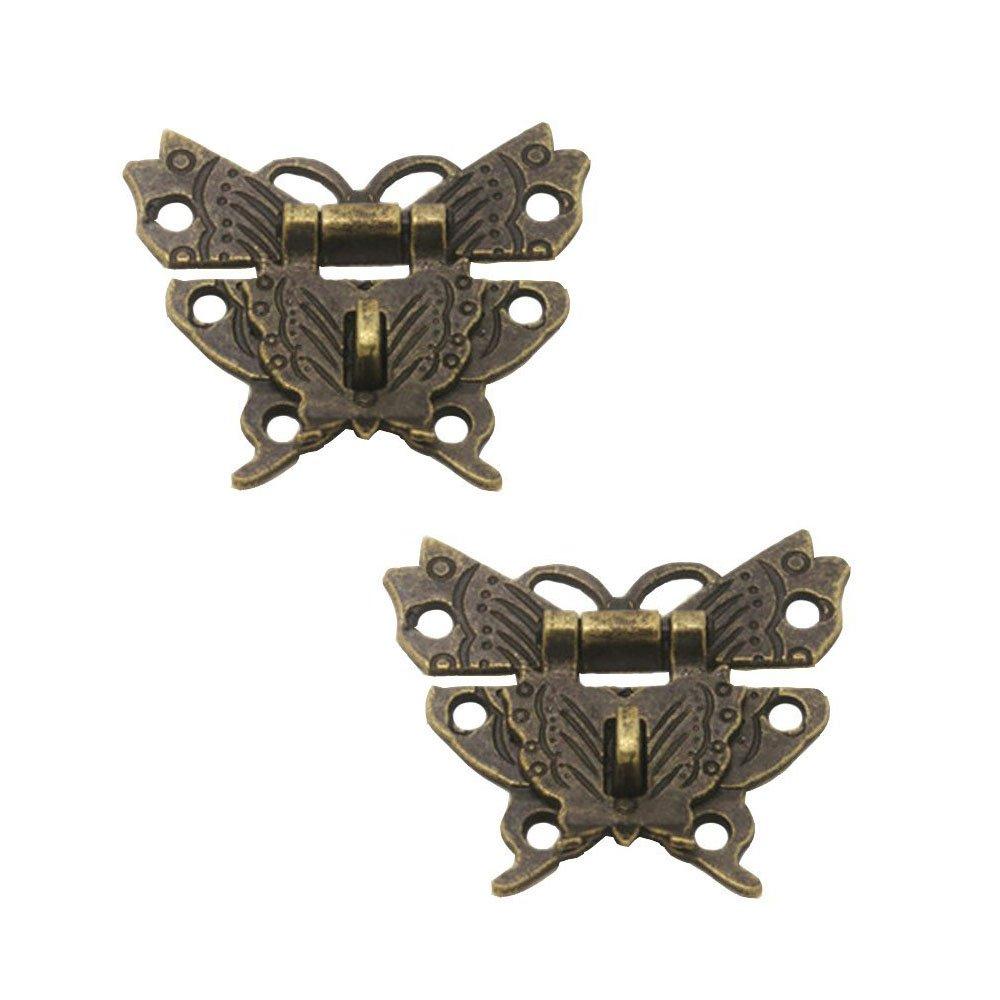 rzdeal 2 Metall Schnalle Catch Latch Mini Grö ß e Schmetterling Schnalle Schließ e Fall Lock Scharniere Legierung fü r Vintage Schrank Jewelry Box