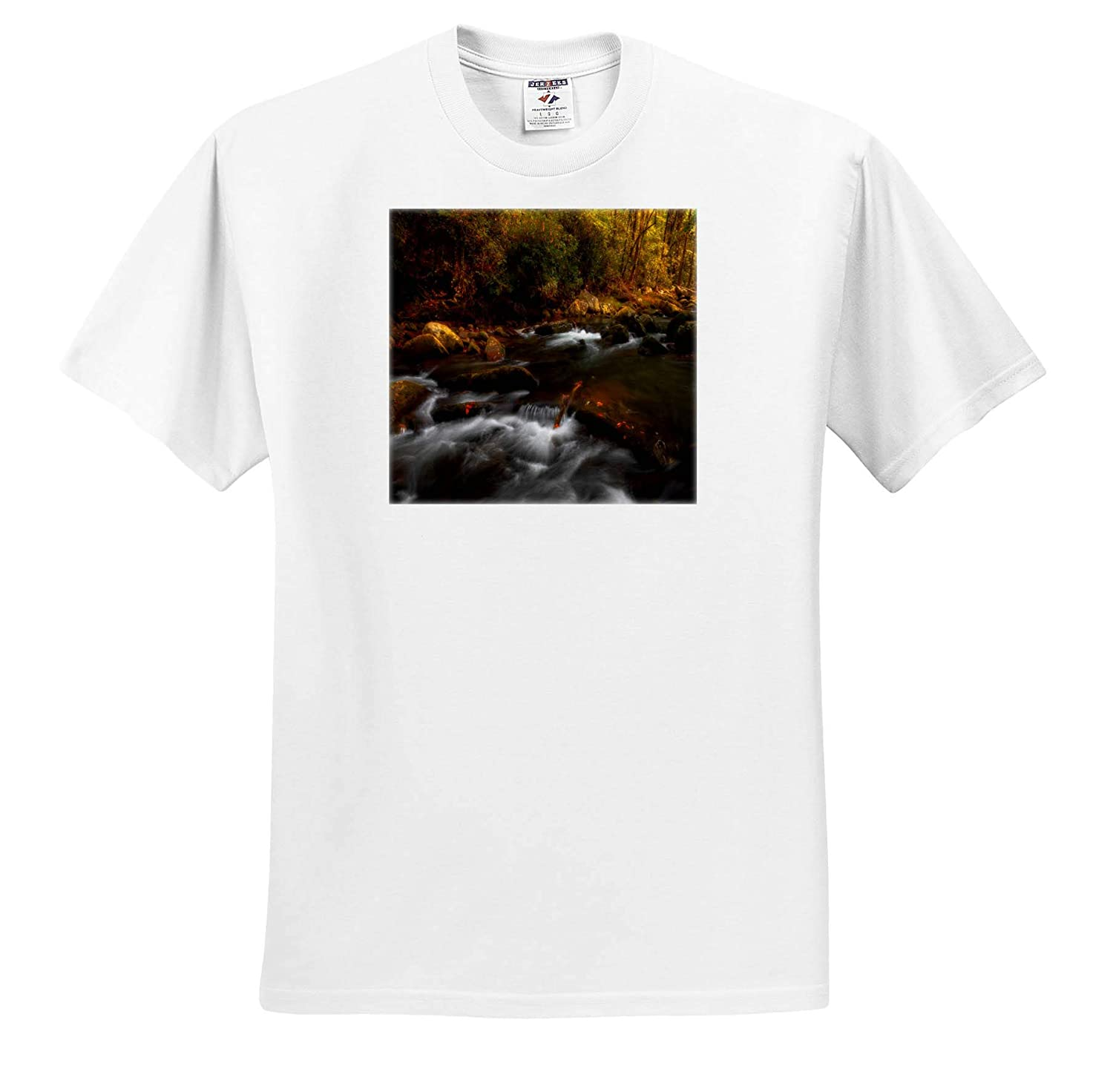 Mountain River Flowing Through Forest in Autumn ts/_309081 3dRose Mike Swindle Photography Adult T-Shirt XL Landscapes