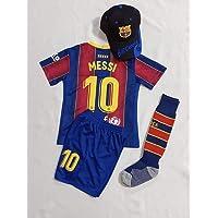 New 2021 Kids Soccer Jersey Barcelona #10 Messi Home Red Blue Top + Shorts + Cap + Socks Kit Kit