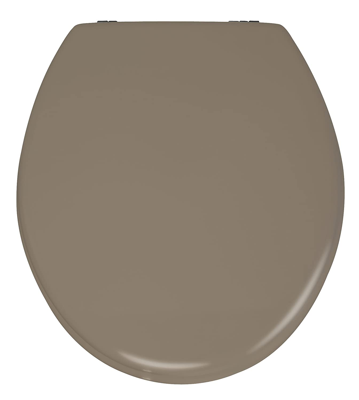 Wenko 20078100 Asiento de Inodoro Gris//Marr/ón MDF 41 x 38 x 3 cm