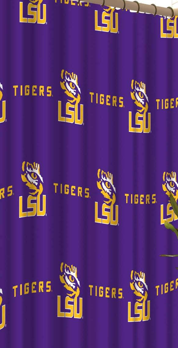 NCAA LSU Tigers 18 Piece Bath Ensemble Includes (1) Shower Curtain, (12) Shower Hooks, (2) Bath Towels, (2) Hand Towels, and (1) Bath mat