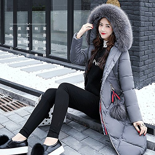 DYF Down Jacket Coat Solid Color Loose Hat Zipper Pocket Medium length,Grey,L