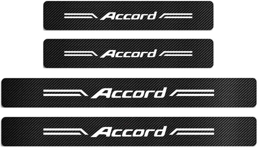 GEERUI 4PCS Advanced Threshold Protection Sticker Reflective Carbon Fiber Vinyl Sticker Decorative Door Entry Guard Door Threshold Scratch Pad Film for Honda Accord. White-Accord