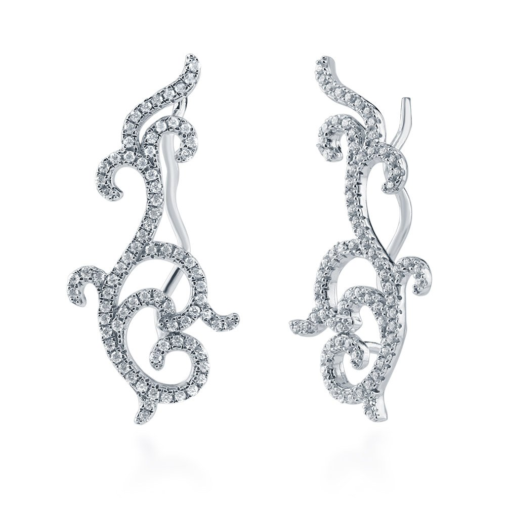 BERRICLE Rhodium Plated Sterling Silver Cubic Zirconia CZ Filigree Fashion Ear Crawlers by BERRICLE