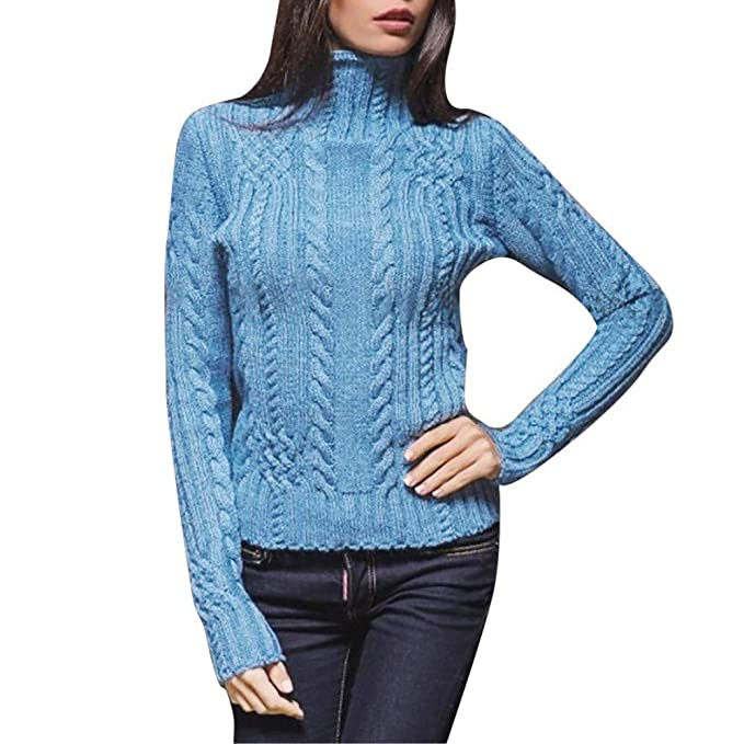 161fa1242 Staron Solid Long Sleeve High Neck Sweater Knitted Jumper Pullover Tops  Blouse Small Blue