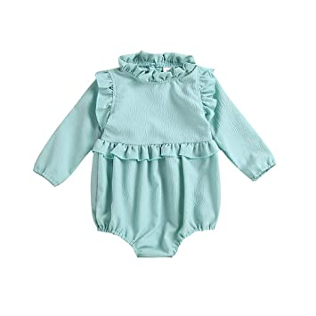 b68c36a89e Amazon.com   Toddler Baby Boys Girls Clothes Long Sleeve Frill Romper  Infant Jumpsuit (0-6 Months