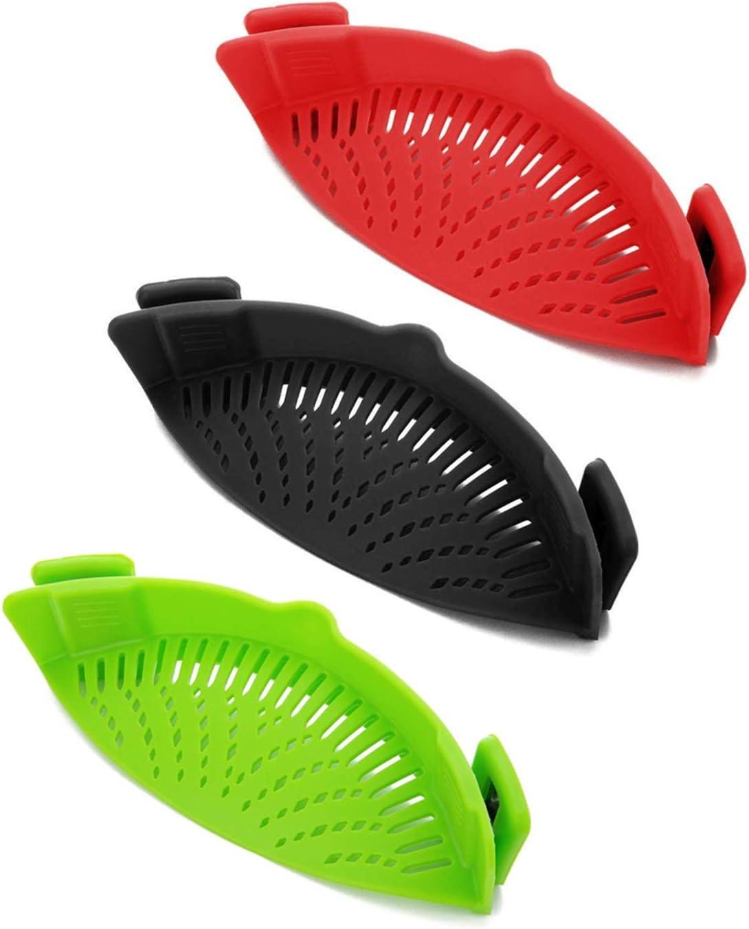 3 Pieces Clip-On Strain Strainer Kitchen Food Strainer Snap Strainer Heat Resistant Silicone Colander Spout for Pasta Vegetable Noodles Pot Bowl Pan (Red, Green,Black)