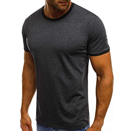 38372dad67 Amazon.com: Mens Short Sleeve Tops,Round Neck Shirts Super Soft Blouse  Casual Slim Fit Tunic Patchwork Loose Tee Tank Top: Office Products