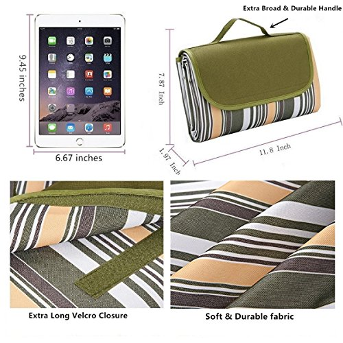 Waterproof Picnic Blanket Tote, 80X60 Inches Handy Mat Machine Washable Extra Large Compact Outdoor Foldable lightweight Camping Blanket Portable Sand Proof Mat Chic Style 1 Year Warranty