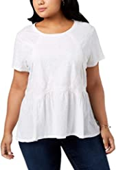 Style & Co. Womens Plus Embroidered Short Sleeves Pullover Top