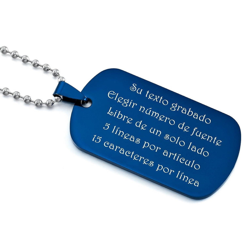 02454cd61f2c MeMeDIY Negro Azul Plata Oro Dorado Dos Tono Acero Inoxidable Colgante  Collar Dog Tag Placa