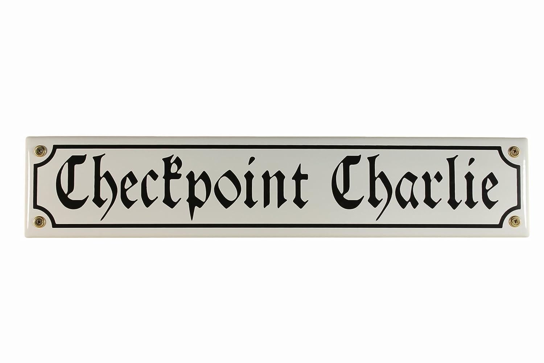 Cartello Stradale Check Point Charlie 40 x 8 cm Berlin Souvenir strada segno smalto Charly Buddel Bini