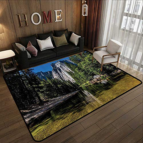 Throw Rugs,Apartment Decor,Large Granite Cliff Surrounded by Trees and River Under Clear Sky Wild Beauty Scenery,Green Blue 59