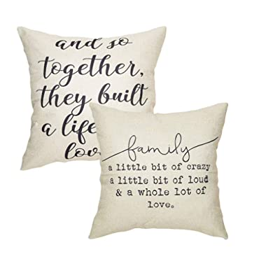 LIYACHAO Farmhouse Decorative Cotton Linen Inspirational Quotes Pillow Covers Home Decor Throw Pillow Covers Cushion Covers 18x18 Set of 2