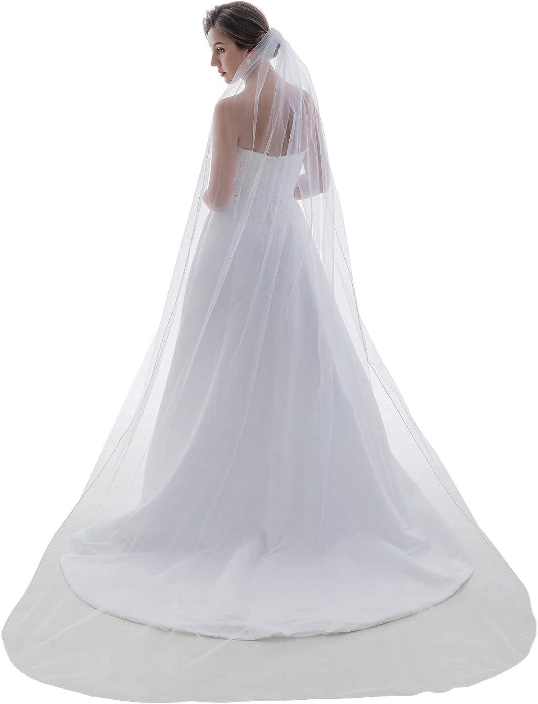 "SAMKY 1T 1 Tier Sattin Rattail Cord Edge Bridal Veil Cathedral Length 108"""