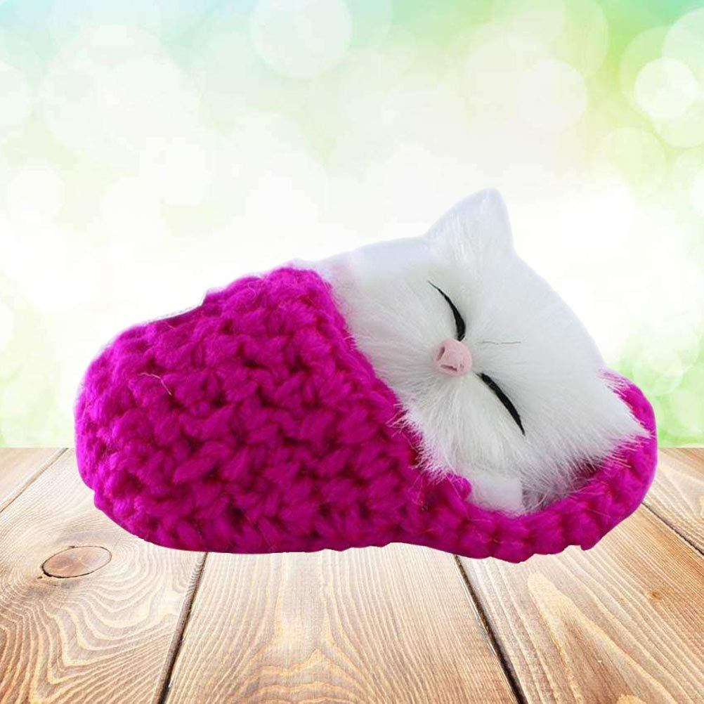 Rosy Healifty 1 Pair Cozy Warm Small Simulation Cat Shaped Plush Slippers Women Winter Indoor Home Household Shoes
