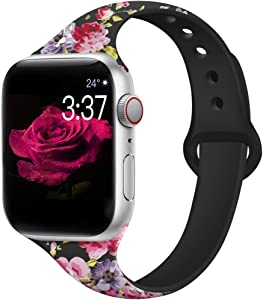 Kaome Floral Bands Compatible for App le Watch Band 38mm 40mm 44mm 42mm Fadeless Pattern Printed Replacement Band Wristband for iWatch Series 6 5 4 3 2 1, for Women Men Kids