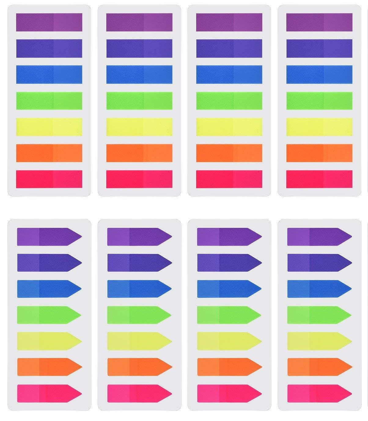 Febbya Segnapagina Adesivi, Sticky Notes 8 Sets 1120 Pezzi Page Marker per Pagina Marke Hand Ricette Diario Riviste e Libri di Testo