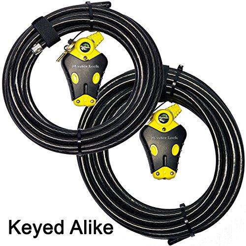 Master Lock - Two Python Adjustable Cable Locks Keyed Alike, 1-20ft, 1-30ft, 8413KACBL-2030