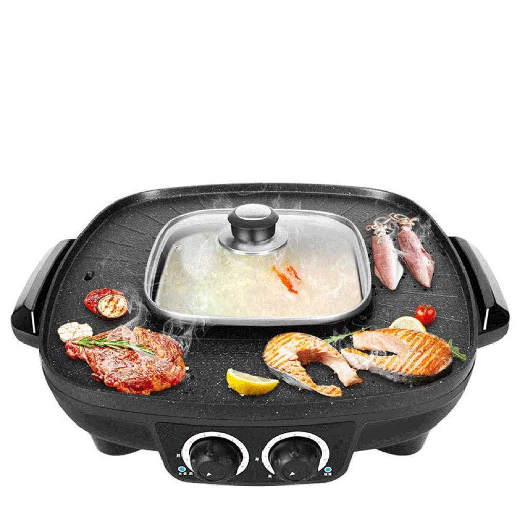 WSJTT Electric Grill with Hot Pot,Non-Stick Coating Surface,Hot Pot with Glass Lid,Multifunction Two-in-one Electric Smokeless Non-Stick Barbecue Grilled Shabu-shabu 1900W 220V