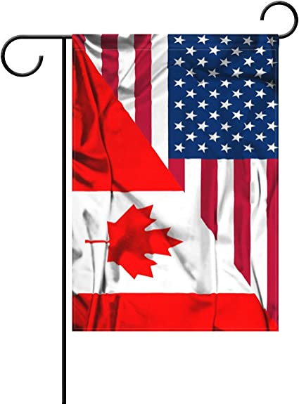 Alaza Double Sided Canada And Usa Friendship Combination A Memorial Day Polyester House Garden Flag Banner 28 X 40 Inch For Anniversary Family Garden Decor Garden Outdoor
