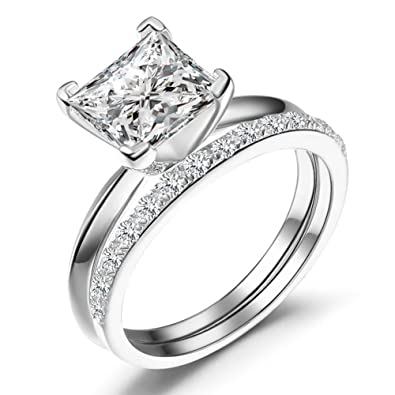 caperci sterling silver princess cut cubic zirconia bridal engagement wedding ring set size 10