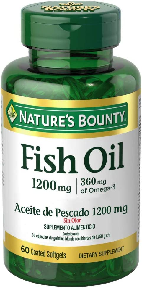 Nature's Bounty Fish Oil 1200 mg Omega-3 and Omega-6, 60 Odorless Softgels (Packaging May Vary)