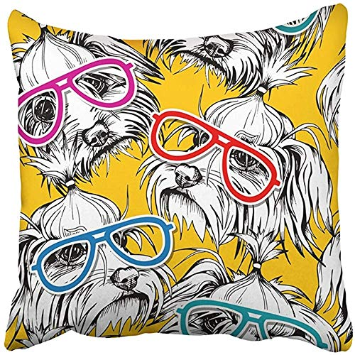 Throw Pillow Cover Polyester 18X18 Inches Dog Portrait The White Puppy Maltese in Color Glasses On Yellow Adorable Animal Decorative Cushion Pillow Case Square Two Sides Print Home